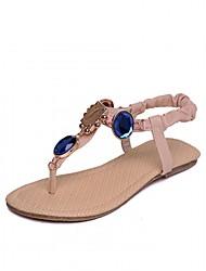 preiswerte -Damen Schuhe Kunstleder PU Frühling Sommer Komfort Neuheit Flache Schuhe Walking Flacher Absatz Peep Toe Strass für Hochzeit Normal Büro