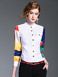 XSSL Women's Going out Casual/Daily Cute Spring Summer ShirtColor Block Stand Long Sleeve Cotton Polyester Medium