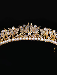 cheap -Imitation Pearl Rhinestone Alloy Tiaras Headwear with Floral 1pc Wedding Special Occasion Headpiece