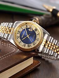 cheap -Men's Fashion Watch Quartz Imitation Diamond Alloy Band Silver Gold