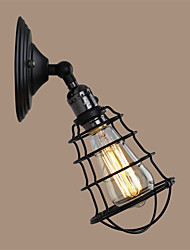 With switch Vintage 1 Light Industrial Black Metal Cage Loft Wall Lamp Living Room Dining Room Hallway Cafe Bars Bar Wall Sconce