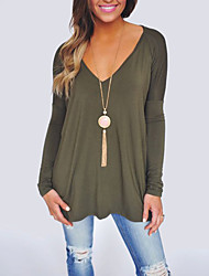 Women's Plus Size Casual T-shirt,Solid V Neck Long Sleeves Polyester Medium