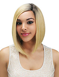 cheap -Ombre Black and Blonde Wig 14 inches Halloween Party Short Straight Bob Hair Wig