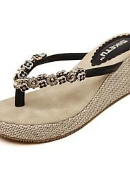 cheap -Women's Sandals Spring Summer Fall Comfort Light Soles PU Office & Career Dress Casual Wedge Heel Rhinestone Beading Almond Black Walking