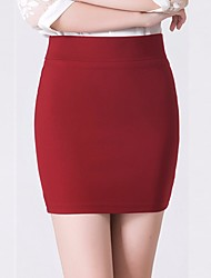 cheap -Women's Street chic Plus Size Mini Bodycon Skirts - Solid Colored