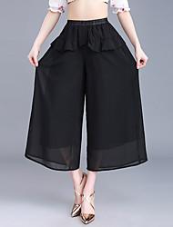 Недорогие -Жен. Большие размеры Мода Широкие Чино Брюки, С высокой талией Полиэстер Однотонный Лето