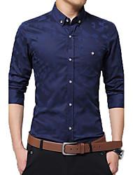 Men's New Fashion Classic Jacquard Weave Slim Fit Long Sleeve Casual Shirt/ Cotton /Plus Size /Office
