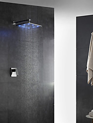 cheap -Contemporary Art Deco/Retro Modern Wall Mounted Rain Shower Handshower Included LED Brass Valve Two Holes Single Handle Two Holes Chrome