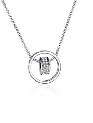 Femme Pendentif de collier Colliers chaînes Zircon cubique Forme de Cercle Zircon Plaqué argent Plaqué Or RoseBasique Original Pendant