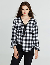 Women's Lace up Going out / Casual/Daily Sexy / Street chic Cut Out All Match Fashion Spring / Fall T-shirtPlaid Deep V Long Sleeve Medium