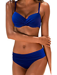 cheap -Women's Plus Size Strap Bikini - Solid Colored Basic Briefs