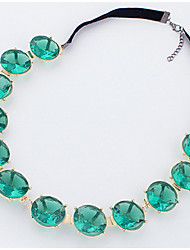 Women's Choker Necklaces Statement Necklaces Strands Necklaces Imitation Emerald Single Strand Glass Alloy Basic Rhinestones Natural