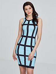 cheap -Women's Boho Bodycon Dress - Plaid/Checkered, Flower Print