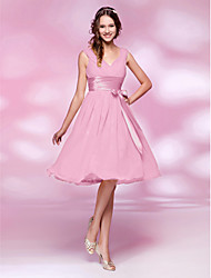 cheap -A-Line / Princess V Neck Knee Length Chiffon Bridesmaid Dress with Bow(s) / Draping / Sash / Ribbon by LAN TING BRIDE®