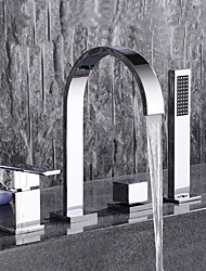Contemporary Widespread Pullout Spray with  Ceramic Valve Two Handles Four Holes for  Chrome , Bathtub Faucet
