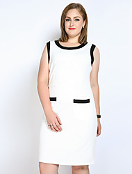 cheap -Really Love Women's Party Daily Plus Size Cute Casual Sexy Shift Sheath Tunic Dress,Color Block Patchwork Round Neck Midi Sleeveless Spandex