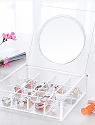 cheap -Glass Plastic Oval Travel Home Organization, 1pc Desktop Organizers Makeups Storage Jewelry Boxes Jewelry Organizers Closet Organizers