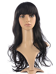 cheap -Hot Sale Long Wavy Wig Synthetic Fiber Wig Natural Black Color For Women Style With Neat Bangs
