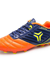 Soccer Shoes Men's Athletic Shoes Spring Fall Light Soles PU Outdoor Athletic  Flat Heel Lace-up Blue/Black Orange Gold