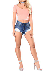Da donna A vita alta Stile europeo Fantastico Rock Sensuale Jeans Pantaloncini Pantaloni,Dritto Tinta unita