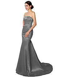 Mermaid / Trumpet Sweetheart Court Train Satin Formal Evening Dress with Beading by Sarahbridal