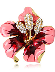 cheap -Women's Flower Crystal Brooches - Floral / Flower Style / Flowers Rose Pink / Red / Black Brooch For Wedding / Party / Special Occasion