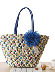 Women Bags All Seasons Straw Tote Acrylic Jewels Flower for Casual Outdoor Office & Career Purple Red Green Blue