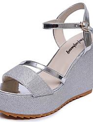 Damer Sandaler Komfort PU Sommer Komfort Kilehæl Sort Sølv 12 cm og derover