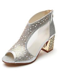 preiswerte -Damen Schuhe PU Kunstleder Sommer Komfort Sandalen Blockabsatz Peep Toe Paillette Für Kleid Gold Schwarz Silber