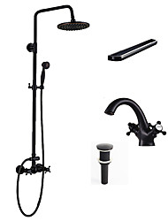 cheap -Faucet Set - Rain Shower Handshower Included Oil-rubbed Bronze Shower System Two Holes Three Handles Two Holes