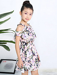 Girl's Daily Holiday Going out Floral Dress,Cotton Summer Short Sleeve Floral White Black Blushing Pink