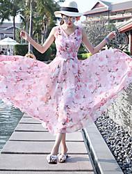 cheap -Women's Beach Holiday Boho Chiffon Swing Dress Print Maxi V Neck