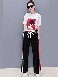 T-shirt Pantalone Completi abbigliamento Da donna Casual Vacanze Semplice Divertente Moda città Estate,A strisce Con stampe Alfabetico