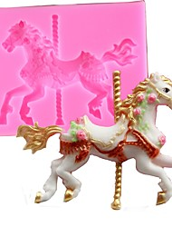 cheap -Random Color 3D Carousel Horse Mould Silicone Fondant Cake Molds Kitchen Cake Decorating Baking Tools Candy Clay Gumpaste Chocolate Mould