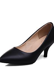 cheap -Women's Heels Spring Summer Formal Shoes Leatherette Wedding Office & Career Dress Kitten Heel Beige Black White