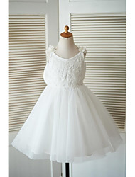 cheap -A-Line Knee Length Flower Girl Dress - Lace Tulle Sleeveless Straps with Bow(s) Flower(s) by LAN TING BRIDE®