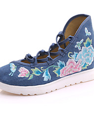 cheap -Women's Oxfords Summer Fall Comfort Novelty Embroidered Shoes Canvas Outdoor Office & Career Athletic Dress Casual Flat HeelLace-up