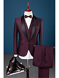 Burgundy Solid Slim Fit Cotton Polyester Spandex Suit - Shawl Collar Single Breasted One-button
