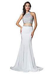 Mermaid / Trumpet Two Piece Halter Court Train Jersey Formal Evening Dress with Beading by Sarahbridal