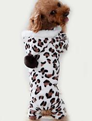 baratos -Gato Cachorro Macacão Pijamas Roupas para Cães Leopardo Marron Lã Polar Ocasiões Especiais Para animais de estimação Homens Mulheres Fofo