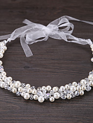 cheap -Crystal Imitation Pearl Tiaras Headbands Flowers Headwear Head Chain with Floral 1pc Wedding Special Occasion Outdoor Headpiece