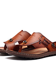 cheap -Men's Cowhide Spring / Summer Comfort Sandals Water Shoes Blue / Light Brown