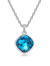 Women's Pendant Necklaces Crystal Chrome Circular Euramerican Fashion Personalized Simple Style Light Green Light Blue Red Yellow White