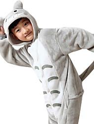 cheap -Kid's Kigurumi Pajamas Anime / Totoro Onesie Pajamas Costume Flannel Toison Gray Cosplay For Animal Sleepwear Cartoon Halloween Festival / Holiday / Christmas