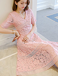 cheap -Women's Daily Going out Cute Casual Lace Dress,Solid V Neck Midi Polyester Summer High Rise Inelastic Medium