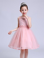 Ball Gown Short / Mini Flower Girl Dress - Tulle Sleeveless Jewel Neck with Pearl by YDN