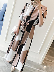 cheap -Women's Daily Work Plus Size Vintage Cute Casual Shift Dress,Geometric Round Neck Maxi Knee-length Short Sleeves Others Summer Mid Rise