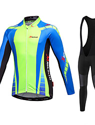 Malciklo Cycling Jersey with Bib Tights Men's Long Sleeves Bike Jersey Bib Tights Clothing Suits Quick Dry Front Zipper Wearable High