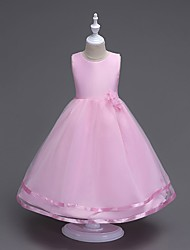 cheap -Ball Gown Floor Length Flower Girl Dress - Cotton Chiffon Sleeveless Scoop Neck with Flower