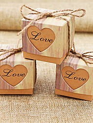 50pcs/lots Romantic Heart Candy Box for Wedding Decoration Vintage Kraft Wedding Favors and Gifts Box with Burlap Twine